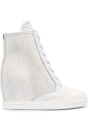 Casadei Woven lace-up wedge boots