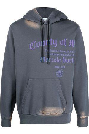 MARCELO BURLON Logo-print bleached effect hoodie