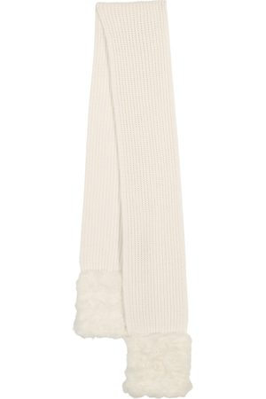 Moncler Faux fur, wool and cashmere scarf
