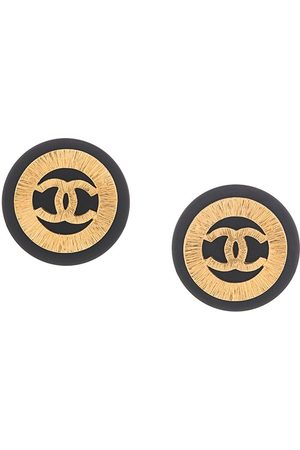 CHANEL CC huge button earrings