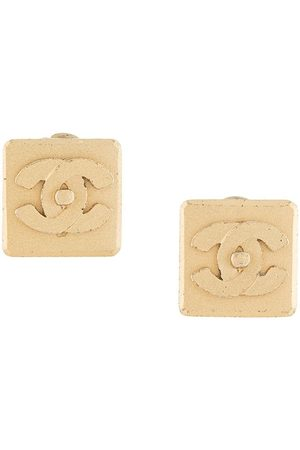 CHANEL 2002 CC turn-lock square clip-on earring