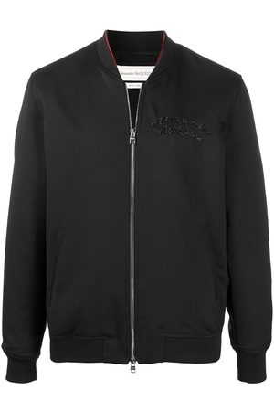 Alexander McQueen Embroidered-logo bomber jacket