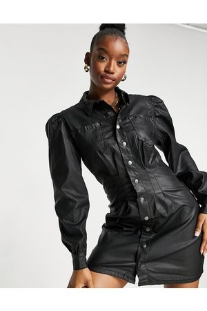 Missguided Denim shirt dress with cinched waist in
