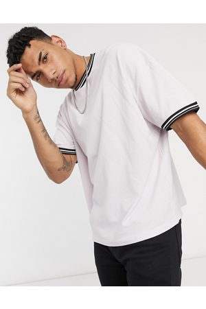 ASOS Oversized pique t-shirt with contrast tipping in lilac