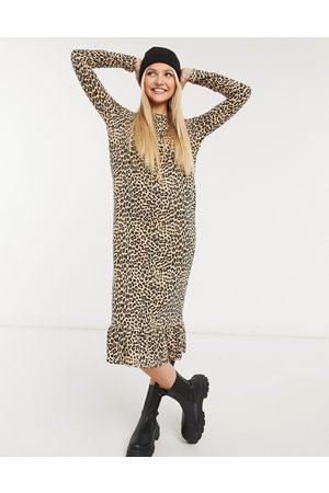 Daisy Street Women Casual Dresses - Midaxi smock dress in leopard print