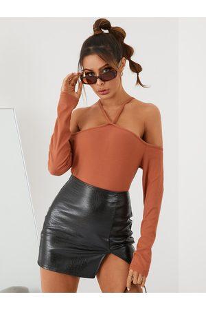 YOINS BASICS Women Sexy Halter Plain Long Sleeve Tee