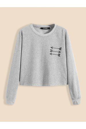 YOINS BASICS Arrow Pattern Crew Neck Crop Sweatshirt