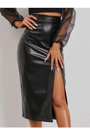 YOINS Faux Leather Slit Hem Skirt
