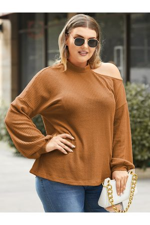 YOINS Plus Size Cold Shoulder Waffle Knit Long Sleeves Knitwear
