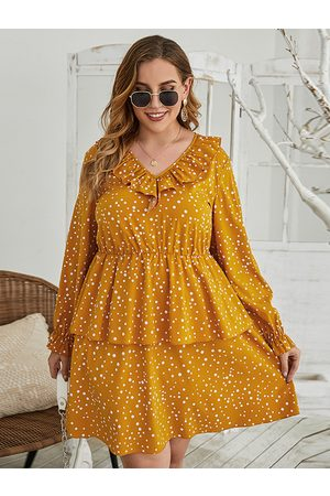 YOINS Plus Size V-neck Polka Dot Ruffle Trim Double Layer Long Sleeves Mini Dress