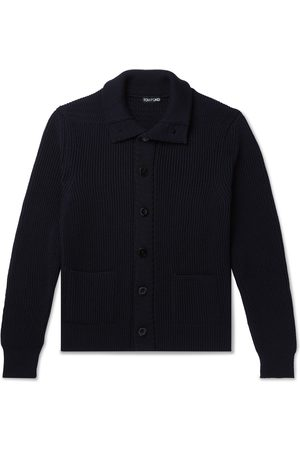 Tom Ford Men Cardigans - Slim-Fit Ribbed Wool and Cashmere-Blend Cardigan