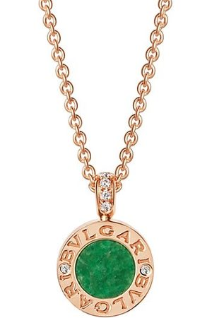 Bvlgari Classic 18K Rose , Jade & Pavé Diamond Pendant Necklace