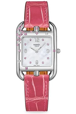 Hermès Cape Cod Sapphire, Diamond, Steel & Alligator Strap Watch