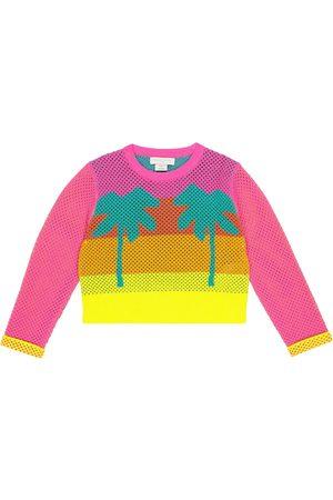 Stella McCartney Girls Sweatshirts - Intarsia cotton mesh sweatshirt