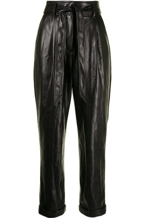 FLEUR DU MAL Faux-leather belted trousers