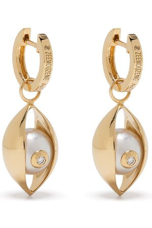 ZEEMOU ZENG 18kt yellow diamond akoya pearl Eye earrings
