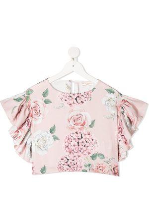 MONNALISA Floral print cropped blouse