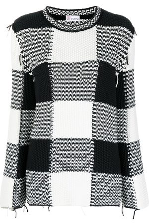 RED Valentino Women Long Sleeve - Check-print long-sleeve jumper
