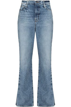 Frame Le Drew pleated-detail flared jeans