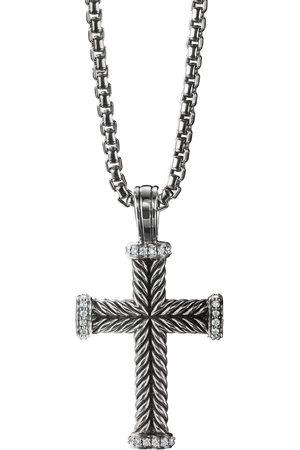 David Yurman Men Necklaces - Sterling diamond cross pendant