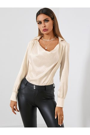 YOINS Satin Jacquard Drape Sagging Long Sleeves Blouse