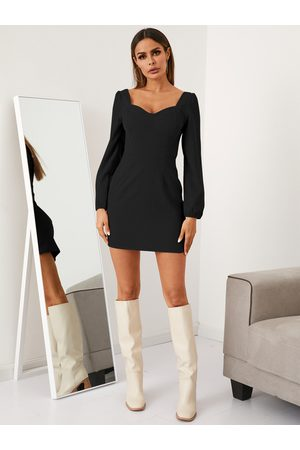 YOINS V-neck Puff Sleeves Velvet Mini Dress