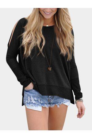 YOINS Plain Cold Shoulder & Slit Hem Long Sleeves T-shirts