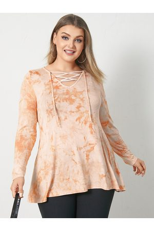 YOINS Plus Size V-neck Tie Dye Lace-up Design Long Sleeves Tee