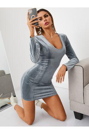 YOINS Velvet Round neck Mini Dress