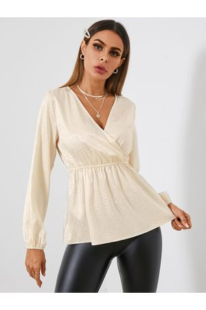 YOINS Satin Jacquard V-neck Long Sleeves Blouse