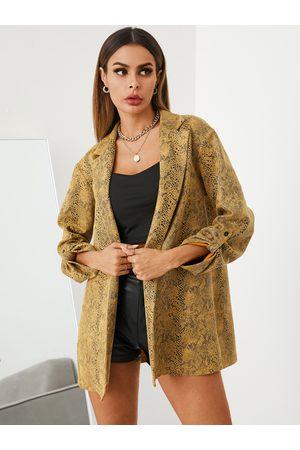 YOINS Snakeskin Button Design Lapel Collar Long Sleeves Blazer