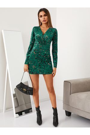 YOINS Drape Sagging Leopard Crossed Front Design Long sleeves Mini Dress