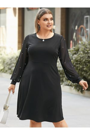 YOINS Plus Size Crew Neck Knit Jewelled Long Sleeves Mini Dress