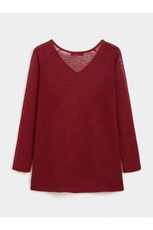 YOINS BASICS Burgundy Sexy V Neck Long Sleeves Knitted T-shirt