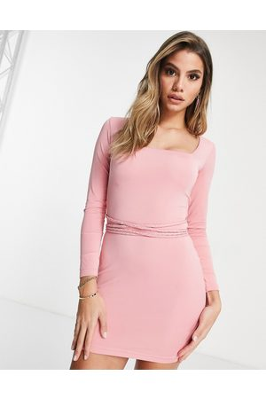 Mars the Label Going out long sleeve bodycon dress with multiway belt detail in