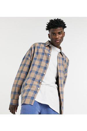 COLLUSION Oversized shirt with overstitching in check