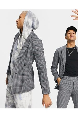 ASOS DESIGN Super skinny soft tailored wool mix suit jacket in micro with grid check