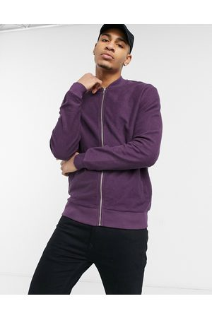 ASOS Jersey bomber jacket in burgundy reverse loopback