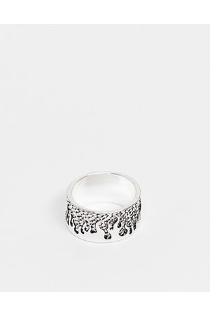 ASOS Band ring with flames in tone