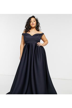 True Violet True Violet Black Label Plus bardot prom maxi dress with pockets in
