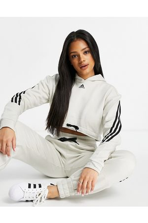 adidas Adidas Training 3 stripe cropped hoodie in