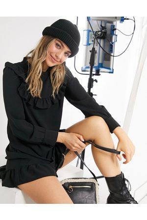 New Look High neck frill bib mini smock dress in