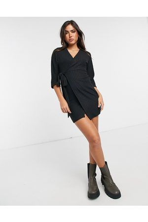 River Island Long sleeve belted cosy mini dress in
