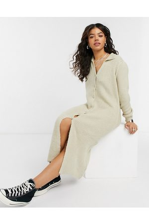 ASOS Knitted dress with collar detail and button up front
