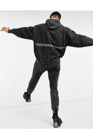 Good For Nothing Drop shoulder hoodie with mid back logo in acid wash