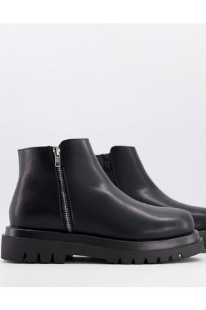 Truffle Collection Square toe chunky lace up boots in