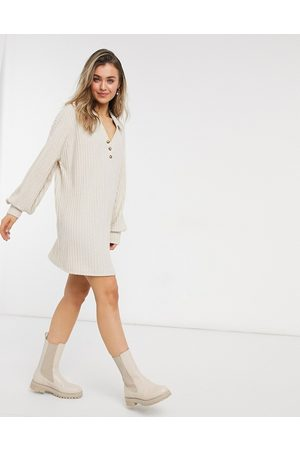 ASOS Super soft rib long sleeve shirt dress in stone