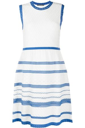 Alberta Ferretti Two-tone embroidered sleeveless dress