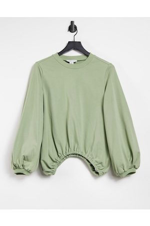 Lost Ink Oversized balloon sweat in olive