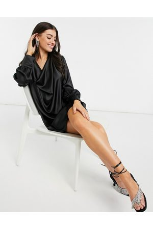 River Island Long sleeve cowl neck mini shirt dress in